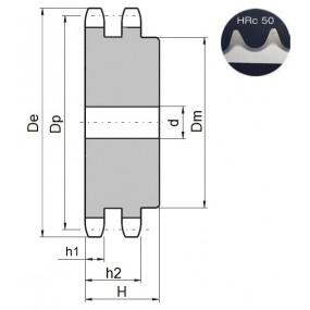 Koło łańcuchowe 12B-2-z25 zęby hart.