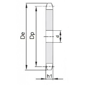 Koło łańcuchowe bez piasty 04-1-z125 (6x2,8mm)