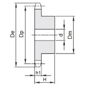 Koło łańcuchowe 04-1-z22 (6x2,8mm)