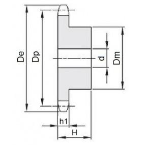 Koło łańcuchowe 04-1-z25 (6x2,8mm)