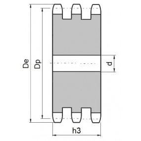 Koło łańcuchowe bez piasty 08B-3-z16 (1/2)