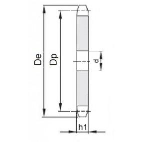 Koło łańcuchowe bez piasty 12B-1-z17 (3/4)